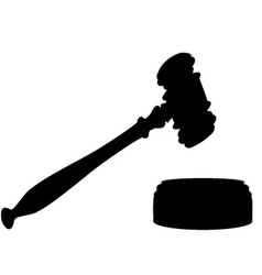 Silhouette of gavel vector