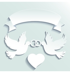 Doves holding wedding rings vector