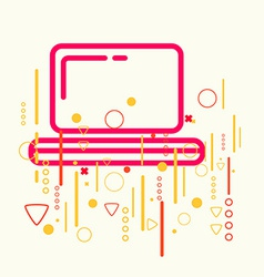 Laptop on abstract colorful geometric light vector