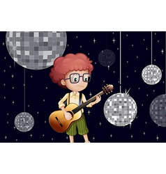 A boy playing with his guitar at the disco house vector