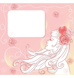 Pink floral template with stylish woman vector