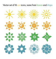 Set of 16 sun icons some from leaves and drops vector