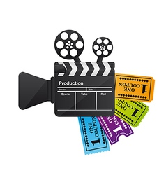 Clapper board with tickets vector