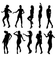 Beautiful women dancing silhouette isolated vector