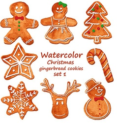 Watercolor christmas gingerbread cookies vector