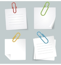 Metal paperclip and white paper notes set vector