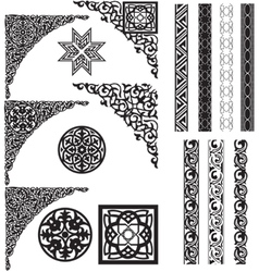 Arabic ornament corners vector