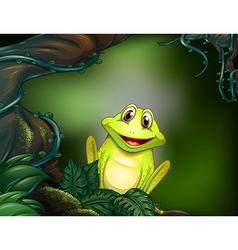 A green frog in the jungle vector