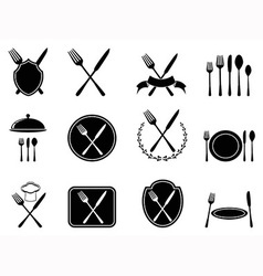 Eating utensils icons set vector