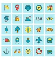 Travel and transportation icon set in flat design vector