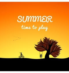 Poster summer landscape style play theme vector