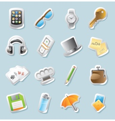 Sticker icons for personal belongings vector
