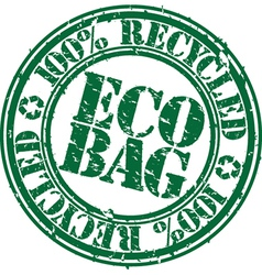 100 percent recycled eco bag stamp vector