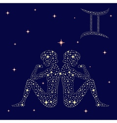 Zodiac sign gemini on the starry sky vector