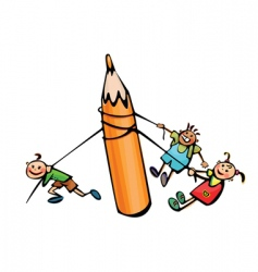 Kids pull big pencil vector