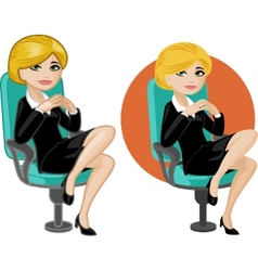 Cute young caucasian office woman on chair vector