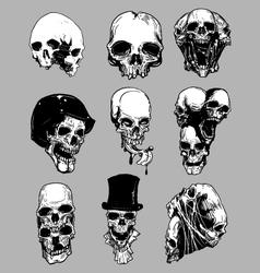 Hand drawn skulls vector