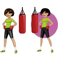Cute young indonesian woman boxer vector