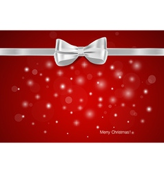 Christmas background gift bow and shiny ribbon vector