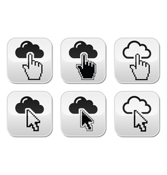 Cloud with cursor hand and arrow buttons set vector