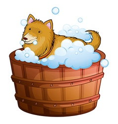 A big dog at the bathtub vector