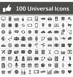 100 universal icons vector
