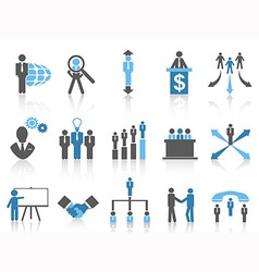 Business and management icons blue series vector