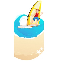 Young windsurfer vector