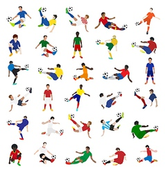 Collection of soccer players vector