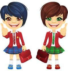 Smiling brunette cute schoolgirls vector