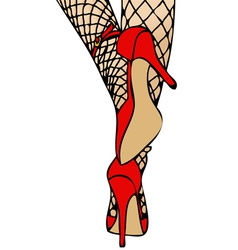 High heels and fishnet vector