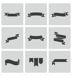 Black ribbon icons set vector