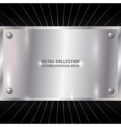 Metallic silver plate vector