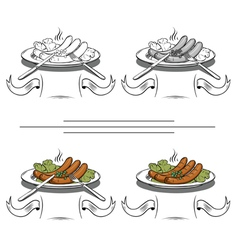 Cooked sausages on the grill vector