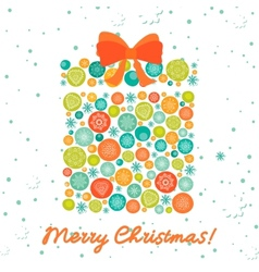 Greeting card with christmas gift vector