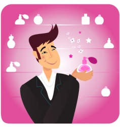Man with pink perfume bottle vector