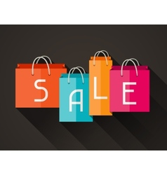 Sale poster with shopping bags in flat design vector