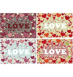 The word love in background with hearts set of 4 vector