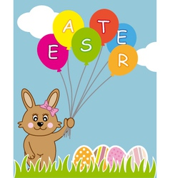 Rabbit with ballons vector