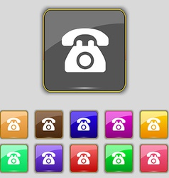 Retro telephone icon sign set with eleven colored vector