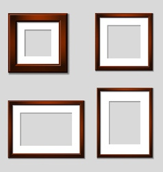 Wooden mahogany picture frames vector