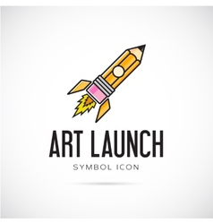 Art launch pencil rocket concept symbol icon or vector