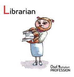 Alphabet professions owl letter l - librarian vector