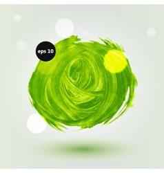 Green grungy abstract hand-painted brush circle vector