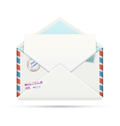 Open old-fashioned airmail paper envelope vector