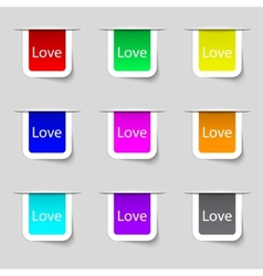 Love you sign icon valentines day symbol set of vector