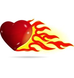 Heart on fire vector