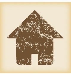 Grungy house icon vector