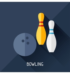 Game with bowling in flat design style vector