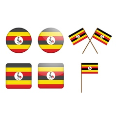 Badges with flag of uganda vector